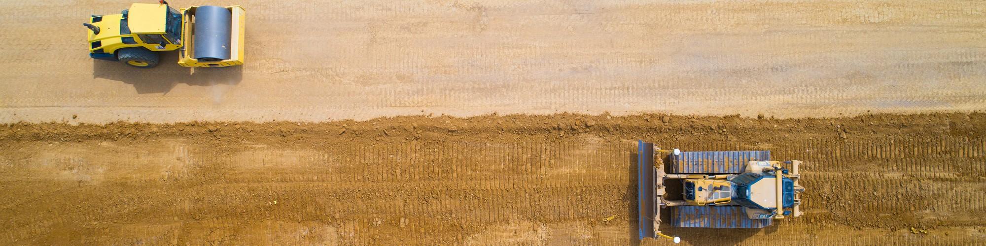 Bild Planierraupe und Walze