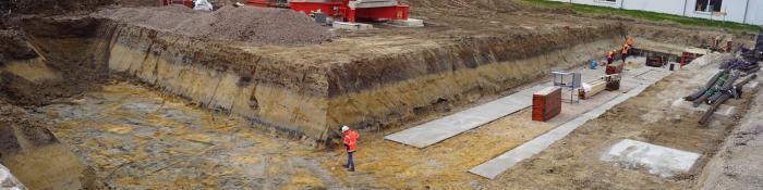 Bild Sohlabnahme / Betonieren einer Fundamentgrube