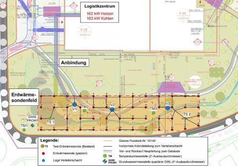 Lageplan Erdwärmesondenfeld für Logistikzentrum