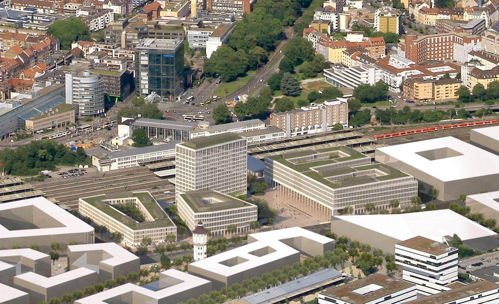 Schrägluftbild Hauptbahnhof Heidelberg mit fotorealistischem 3D-Modell der Bebauung Europaplatz